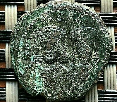 "Leo V And Constantine 813-820 Ad Ae Follis Large ""M"" Syracuse Mint Very Rare"