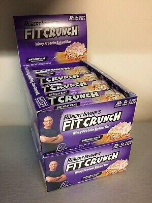 24 Robert Irvines Fit Crunch Whey Protein Baked Bar BIRTHDAY CAKE FREE SHIP