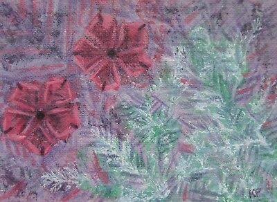ACEO Original Art, Abstract 7, Acrylic Painting, Purple frosty flower winter