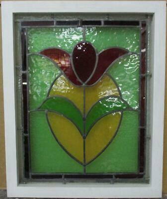 "OLD ENGLISH LEADED STAINED GLASS WINDOW Pretty Bordered Floral 16.25"" x 20"""