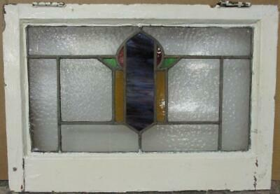 "MID SIZE OLD ENGLISH LEADED STAINED GLASS WINDOW Pretty Abstract 22.75"" x 15.75"""