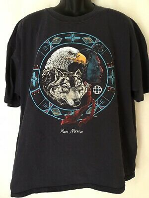 4e768744 Vintage 90's Native American Eagle Wolf Indian New Mexico T Shirt Size 2X