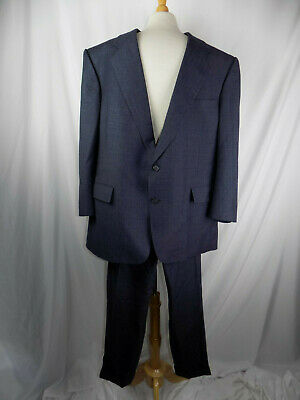 Hart Schaffner Marx 50 R Suit Gray Blue Pinstripe Wool USA 2 Button Mens 44 x 27