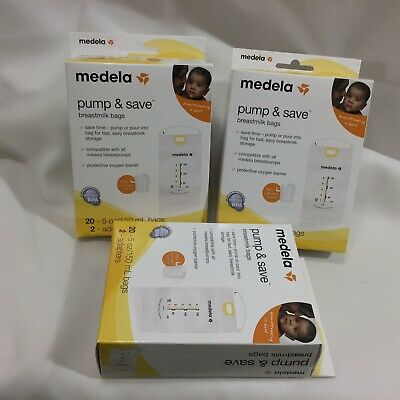 LOT Of 3 Medela Pump and Save Breastmilk Sealed Bags 20 X 3 = 60 Count 2 Adapter