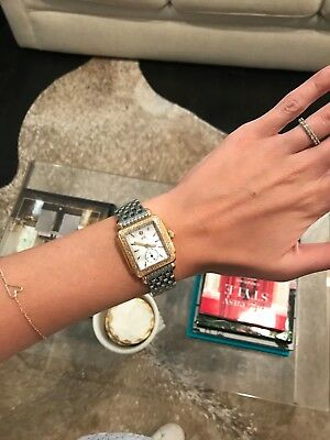 Michele Deco 16 Diamond Bezel, Two Toned Wrist Watch, Mother of Pearl Face