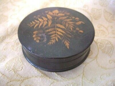 Chinese Box Antique Black Laquered Round Chinoiserie Gilded Floral Decoration