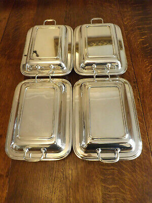Vintage Set Of 4 Matching Silver Plated Entree Dishes Maker R.Richardson