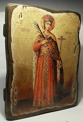 Handmade copy ancient icon ORTHODOX Prayer ICON St Catherine Екатерина 121S