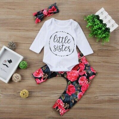 Newborn Infant Baby Girls Cotton Tops Romper Flower Pants 3Pcs Outfits Clothes