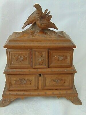 ANTIQUE 19th CENTURY BLACK FOREST HAND CARVED JEWELLERY BOX CASKET- QUAILS