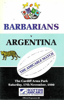 BARBARIANS v ARGENTINA 1990 RUGBY PROGRAMME