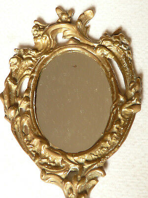 Antique French Rococo Baroque Bronze Hand Mirror