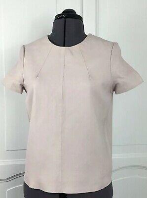 Topshop Boutique Top Real Leather Dusky Pink Size Uk 6-8 Lined Short Sleeves