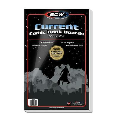 "1 Pack of 100 BCW Current Modern 6 3/4"" Comic Book Backing Backer Boards"