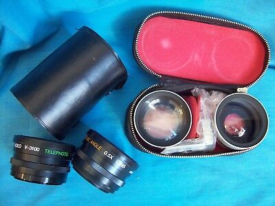 Two Pairs of Telephoto & Wide Angle Lenses-- AMBICO/KALIGAR AUX Lenses
