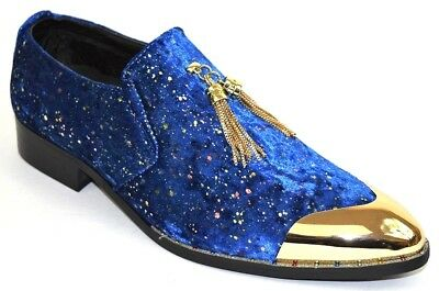 96d95200759c3 Men's Dress Casual Fancy Shoes Slip On Loafers Royal Blue/Gold Metal Tip  Smokers