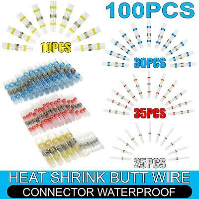 100PCS Solder Seal Heat Shrink Butt Wire Cable Connector Terminal Waterproof