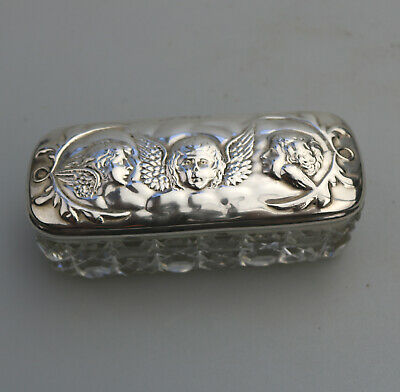 Antique Solid Silver a pretty Reynolds' Angels Jar Box Birm 1901