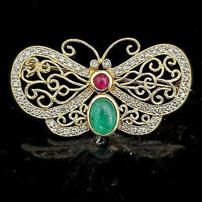 Estate Butterfly Diamond Ruby Emerald 14k Yellow Gold Brooch Pin Vintage Gift