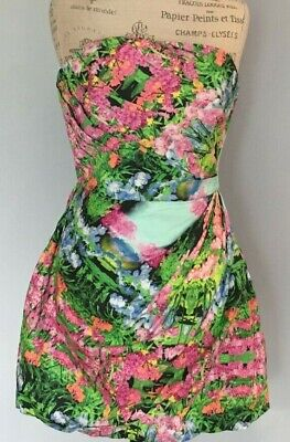 NWT ZARA WOMAN M WATERCOLOR FLORAL STRAPLESS