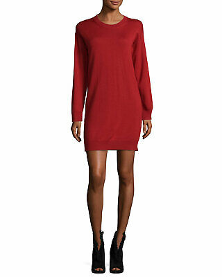 Burberry Alewater Elbow Patch Merino Wool Red Dress 10535 Size Small