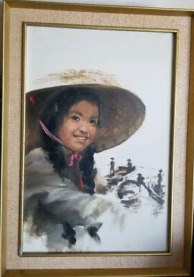 """Vintage Oil Painting Portrait of Asian Girl & Boats Signed Wong Framed 20"""" x 30"""""""