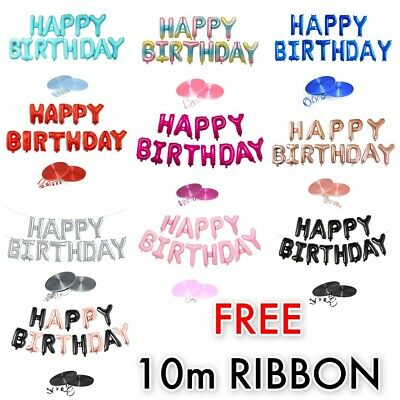 """Self Inflating Happy Birthday Banner Balloon MULTI 16"""" inch Letters Foil Ballons"""