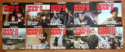 DVD x10 WORLD WAR II IN COLOUR - DISC 2,3,4,5,6,7,8,9,10,13 NEWSPAPER PROMOTION