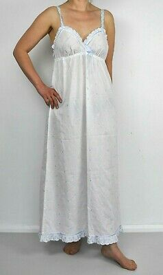 Vintage St Michael Maxi Long Night Dress White Blue Embroidered Empire UK 14 M&S