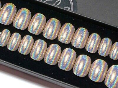 Press On Nails Short Gold Nude Holographic Hand Painted Petite Fake False Nails