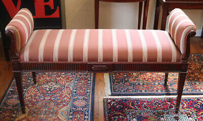 French Louis XVI Window Bench Stool Ottoman Mahogany Queen Size Or Full Bed