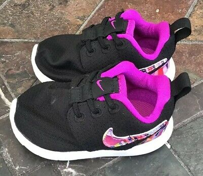 on sale db089 e3054 Nike Roshe One Toddler Baby Girls Running Shoes Size 4 Black Purple Sneakers