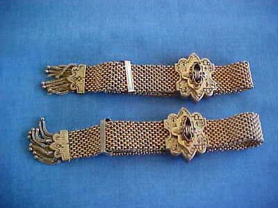 ANTIQUE PAIR OF VICTORIAN GOLD FILLED MESH GARTER BRACELETS FOR THE 1880s BRIDE