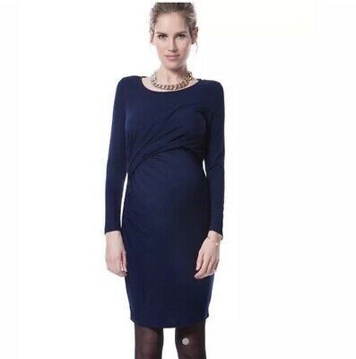 dde4056df233d SERAPHINE LUXE - Navy Blue & Ivory Silk Maternity Dress - Size 8 ...