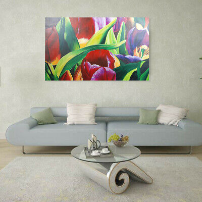 100% Hand Painted Modern Oil Painting Wall Art On Canvas Tulip Flowers Framed
