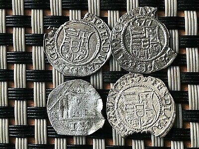 Lot Of 4 Authentic Medieval Hungary Silver Coins Denar 1531-1577 Ad Virgin Mery.