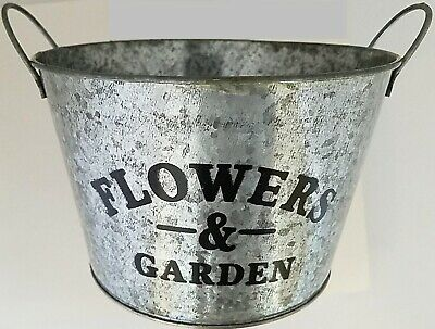 "Window Planters Printed 'Flowers & Garden' Short Bucket Galvanized 4.2""H x 6.8""D"