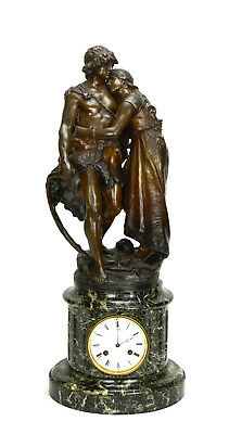 Antique French NAPOLEON III Antony Bailly Bronze Figure Marble Base Mantle Clock