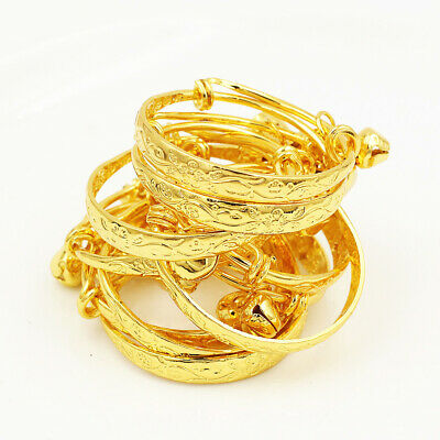 Wholesale Lots Lovely Gold Plated Children Kid Baby Bell Bangle Bracelet Anklet