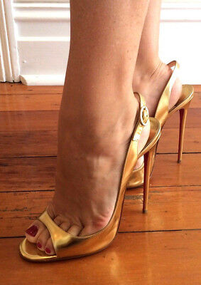 Louboutin gold sandals peeptoes pumps 15cm Sexy fetish straps high heels 42