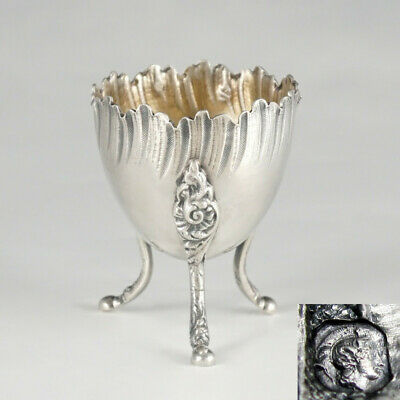 Antique French Sterling Silver Footed Egg Cup, Scalloped Border