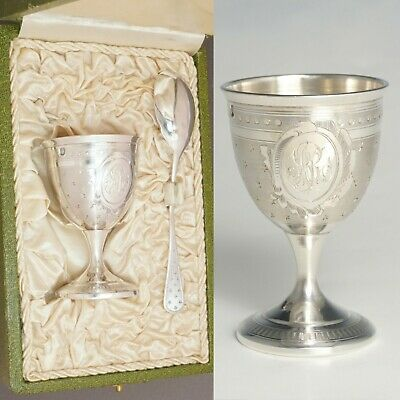 Antique French Sterling Silver Breakfast Set, Egg Cup & Spoon Guilloche Engraved