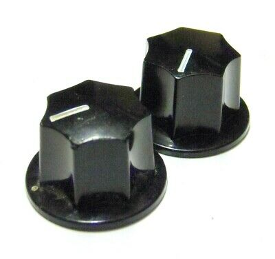 Fender Japan Knob Pair For Mustang & Jaguar & J-Bass- RI Press-On Black MIJ