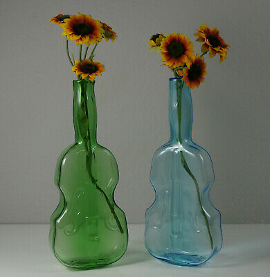 Antique Vintage Pair Violin Bottle Vases Dell Glass Company New Jersey