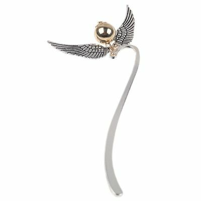 Harry Potter Inspired Golden Snitch Ball Silver Double Angel Wings Bookmark