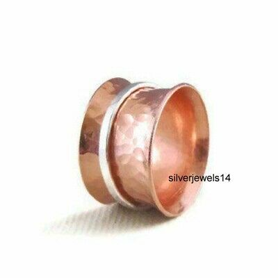 Solid Copper 925 Sterling Silver Two Tone Wide Band Meditation Spinner Ring GS38