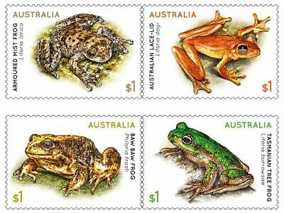 2018 Frogs, 4 Sheet FRANKED ON PAPER Australian Stamps