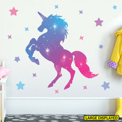 Unicorn wall stickers large kids girls rainbow pink bedroom decals unic16