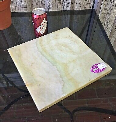 "12""x12"" ONYX SLAB off Antique Brass Table lamp stand marble alabaster salvage"