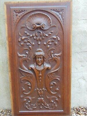 Antique French Renaissance Style Solid Wood Panel Carved In Relief
